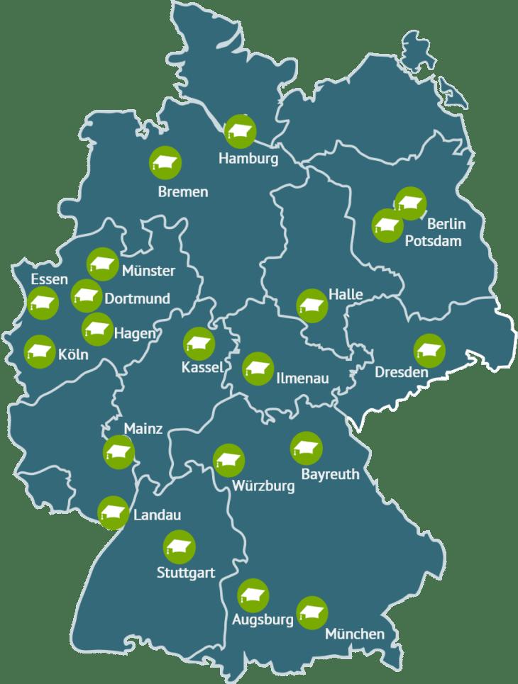 Deutschlandkarte mit Standorten der PROMI-Projektpartner